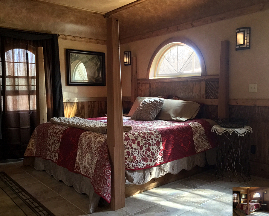 Beautiful hand crafted curved ceiling in the Hobbit Hollow. Rocky Comfort Cabins on the Shawnee Hills Wine Trail in Southern
